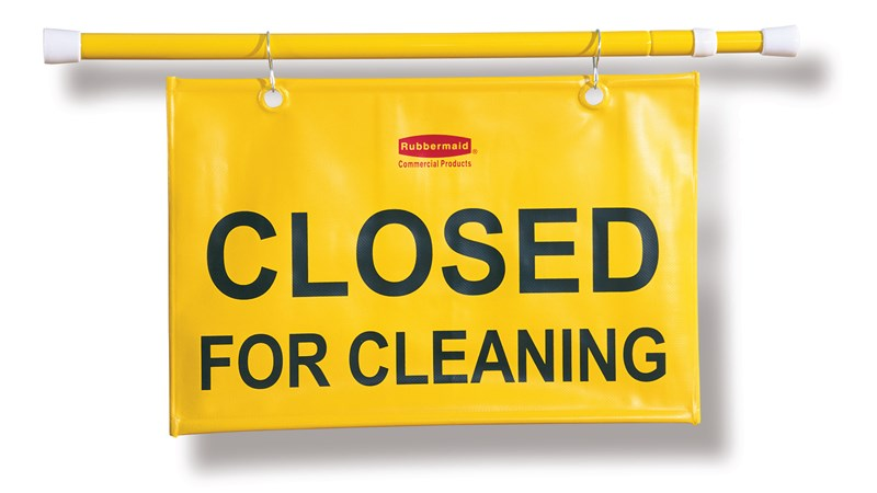 """Closed For Cleaning"" hanging sign is on an extendable pole to block doorways and entrances up to 50"" wide and utilizes ANSI/OSHA-compliant color"