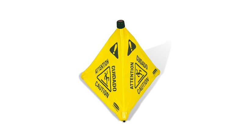 Collapsible sign automatically deploys when removed from wall-mounted storage tube. Multilingual safety communication utilizes ANSI/OSHA-compliant color and graphics