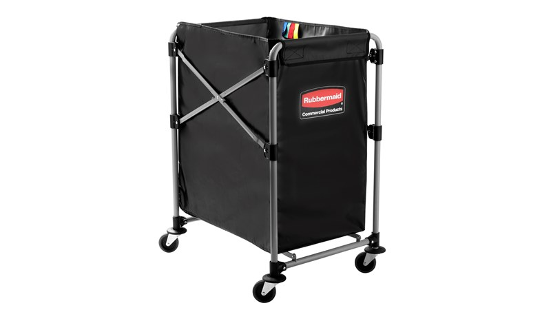The Rubbermaid Commercial 1881749 Executive Series Collapsible X-Cart Basket, 4-Bushel, 220 lbs load capacity, Black.