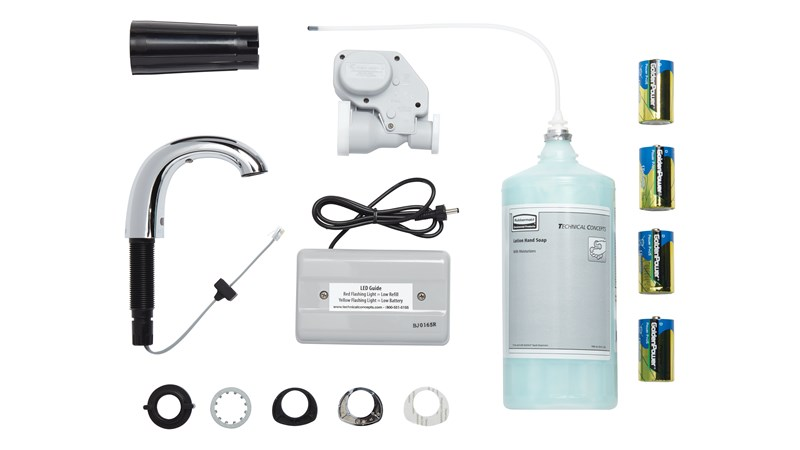 The OneShot® Lotion System sets the standard for quality and reliability in counter-mounted soap dispensing. Low Profile Starter Kit includes Chrome Liquid Dispenser, 1600 ml Liquid Hand Wash Refill and 4 D Batteries.