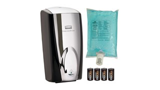 The AutoFoam Touch-Free Skin Care System provides the highest quality foam soap in an attractive touch-free dispenser that delivers superior cost savings. The AutoFoam Starter Kit includes: Black/Chrome Dispenser, Hand Wash Refill, 4 C batteries.