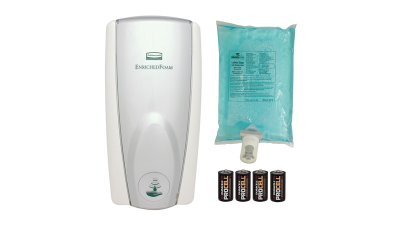 The AutoFoam Touch-Free Skin Care System provides the highest quality foam soap in an attractive touch-free dispenser that delivers superior cost savings. The AutoFoam Starter Kit includes: White/Grey Pearl Dispenser, Hand Wash Refill, 4 C batteries.