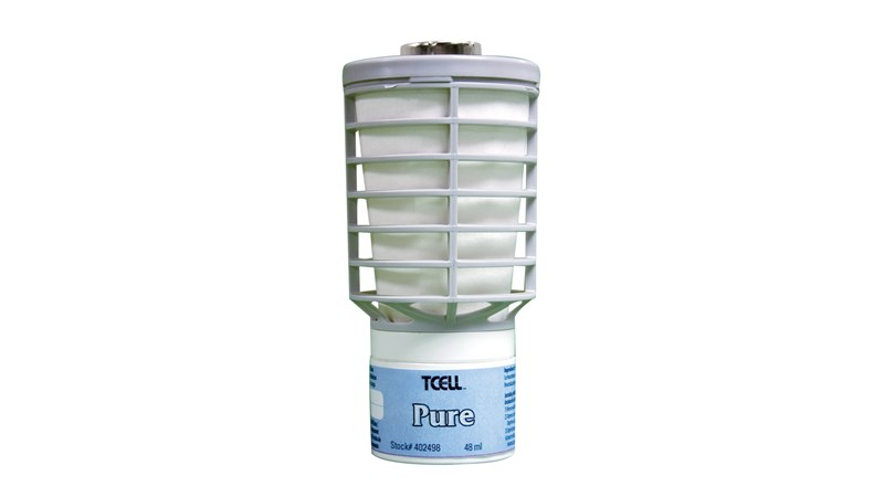 The Rubbermaid Commercial TCell™ odor control system utilizes passive fuel cell technology to deliver precise, timed fragrance for up to 90 days of consistent odor control.