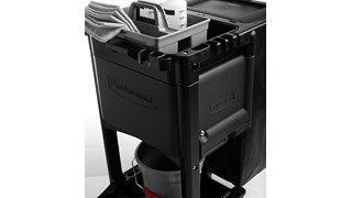 The Executive Janitorial Cleaning Cart Locking Door Kit helps conceal and secure cleaning supplies to keep patrons safe while maintaining a professional presence.