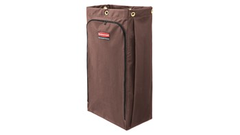 The Rubbermaid Commercial Canvas Bag for Janitorial Cleaning Carts with vinyl lining collects up to 30 gallons of waste with zippered front for easy trash removal.