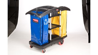 The Rubbermaid Commercial Janitorial Cleaning Cart with two 34-gallon High-Capacity Vinyl Bags provides multi-stream sortation.