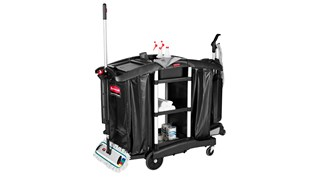 The Rubbermaid Commercial Executive Janitorial Cleaning Cart with two 34-gallon High-Capacity Vinyl Bags, 30-qt. bins, and 10-qt. caddies provides multi-stream collection and discreet organization.