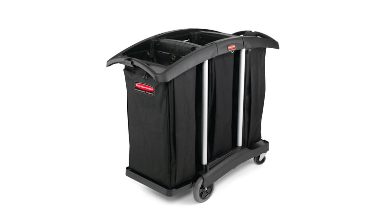 The Rubbermaid Commercial Janitorial Cleaning Cart with triple waste capacity provides location for three 34-gallon High-Capacity Vinyl Bags provides multi-stream sortation.
