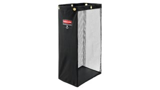 The Rubbermaid Commercial Side-Load Mesh Linen bag for housekeeping carts increases capacity for clean linens without the need for a larger cart.
