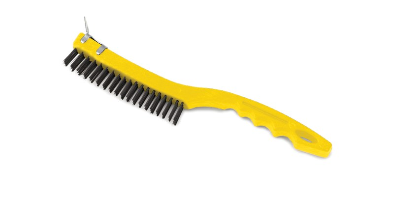 This brush has steel wire bristles. Long plastic handle. Includes a scraper for those needing extra cleaning power. 14-inch length, 3-inch by 19-inch bristle pattern.