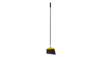 The Rubbermaid Commercial Angled Broom with Polyethylene Bristles and Aluminum Handle has sturdy bristles that are cut and shaped to make sweeping easier. Polypropylene bristles are both stain-resistant and designed for durability.