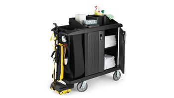 Executive Traditional Compact Housekeeping Cart with Doors, Black