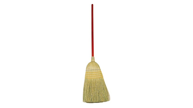 The Rubbermaid Commercial Warehouse Corn Broom FG638400 is designed for rugged indoor/outdoor cleaning.
