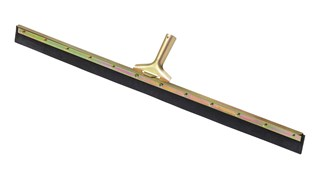 "This straight floor squeegee features a dual moss rubber blade that will not leave marks. The blade is dual moss rubber. Ideal for removing liquid spills and heavy dirt in any work environment. The blade fits standard tapered handles. 36"" long."