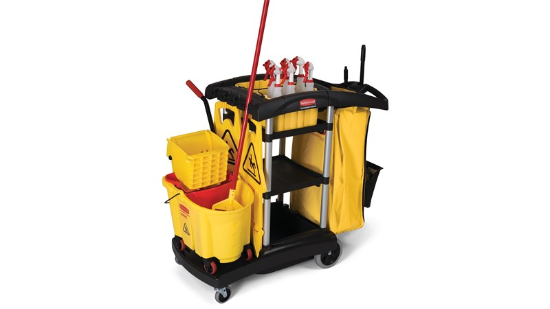 The High-Capacity Janitorial Cleaning Cart offers 40% more space than traditional cleaning carts to save time retrieving supplies.