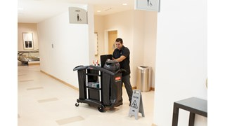 The Rubbermaid Commercial Executive Janitorial Cleaning Cart - High-Capacity is a discreet and customizable solution with room for additional add-ons and accessories to meet your needs.