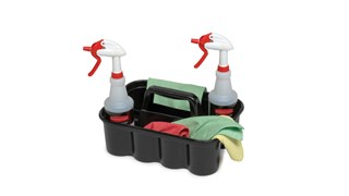 All-purpose caddy is perfect for carrying tools or cleaning supplies. Heavy-duty caddy conveniently fits on cleaning and housekeeping carts. Securely holds up to eight 32 oz spray bottles and other common cleaning tools.