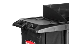 The Rubbermaid Commercial Waste Cover for Traditional Housekeeping carts covers waste and linen collection from guests and patrons.