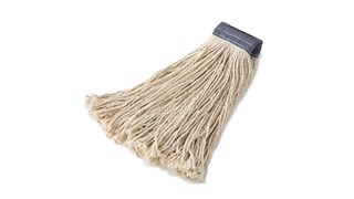 The Rubbermaid Commercial Cut-End Cotton Mop features four-ply post-industrial cotton-yarn.