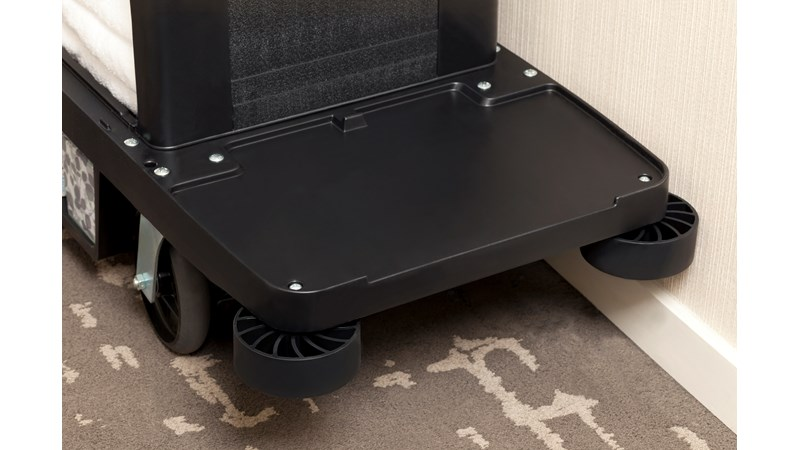 New impact-absorbing and non-marring housekeeping cart bumpers from Rubbermaid Commercial are designed to reduce costly wall damage.