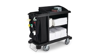 The Rubbermaid Commercial Executive Compact Housekeeping Cart is a complete system solution for housekeeping.