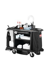 Executive Full Size Housekeeping Cart – Traditional, Black