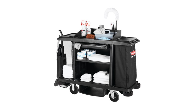 The Rubbermaid Commercial Executive Full-Size Housekeeping Cart is a complete system solution for housekeeping with optional double bag collection and adjustable shelves.
