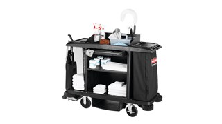 The Executive Full-Size Housekeeping Cart is a complete system solution for housekeeping with optional double bag collection and adjustable shelves.