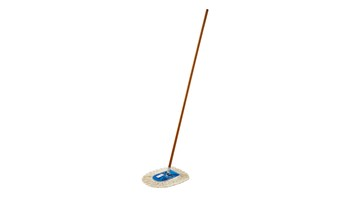 The mop is for use with the Trapper® looped-end or Kut-A-Way® cut-end triangle-shaped wedge mops. The floor mop has a wood handle with heavy-gauge plated wire frame. It is ideal for spot dust mopping in tight corners, under equipment or behind furniture.
