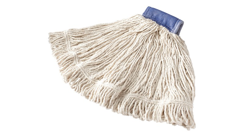 Balanced blend of cotton and synthetic yarns for absorbency and strength. Looped ends and yarn tailband mop for greater floor coverage.