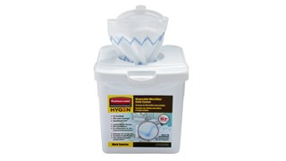 HYGEN™ Disposable Microfiber Cloth Charging Tub is a component of the Disposable Microfiber System that effectively moistens 80 cloths at once while ensuring correct saturation levels. The system combines superior microfiber with built-in scrubber technology, in a disposable application, to prevent cross-transmission and reduce the risk of healthcare-associated infections.