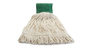The Rubbermaid Commercial Scrubbing Wet Mop features an integrated scrubbing headband that removes stuck-on messes faster without interrupting the mopping process.