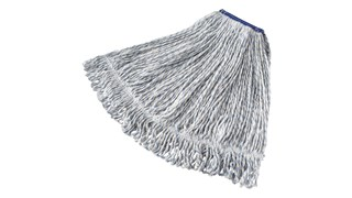 Bright blue and white yarn helps color code finish mop from general-purpose mops. Looped ends and yarn tailband help reduce streaking. Tightly twisted, 4-ply yarn helps reduce linting.