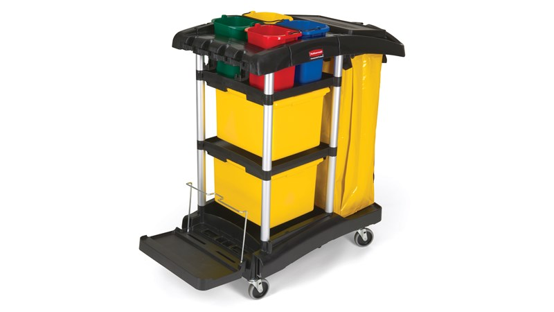 The High-Capacity Janitorial Cleaning Cart with Bins provides removable storage bins that offer more storage organization while leaving room for customization.
