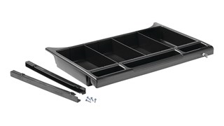 The Executive Locking Utility Drawer for Traditional Housekeeping Carts provides organization and security for supplies and amenities throughout the housekeeping process.