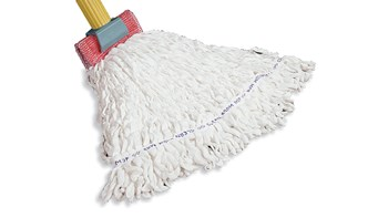 The Rubbermaid Commercial Clean Room Floor Mop has looped-end fibers that provides great floor coverage with each stroke.