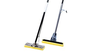 "This 12"" wide sponge mop features a replaceable synthetic cellulose head and a steel handle with a handle-mounted lever for squeeze-action wringing."