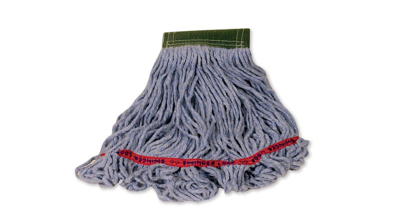 Swinger Loop® Mop features looped-ends, a woven tailband, and a higher synthetic yarn count for increased durability and better floor coverage.
