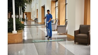 HYGEN™ Quick-Connect Frames features a flat profile that slides easily under furniture and equipment. Trapezoidal shape improves cleaning in corners and other hard to reach areas by reaching the highest spaces with ease.