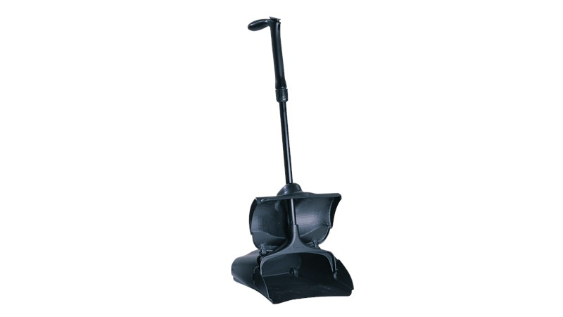 Lobby Pro® Deluxe Upright Dust Pan with Cover FG253300 has a stylish pan design with durable rear wheels that improve wear resistance and extend product life.