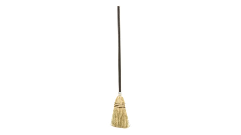 The Rubbermaid Commercial Lobby Broom can be used on rough or smooth surfaces.