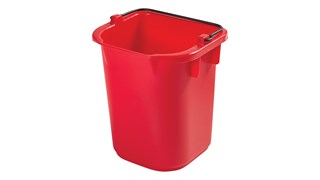 The Rubbermaid Commercial 5-Quart Heavy Duty Pail for Cleaning Carts provides a quick and easy way to clean in tight places.
