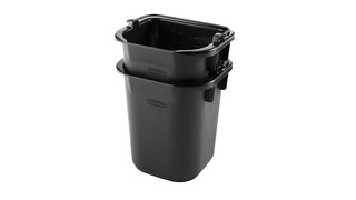 The Rubbermaid Commercial 5-Quart Pail for Cleaning Carts provides a quick and easy way to clean in tight places.