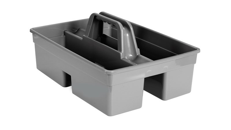 Rubbermaid Commerical Divided Carry Caddy is an all-purpose caddy designed for carrying tools or cleaning supplies.