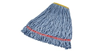 Prelaundered and preshrunk or increased mop performance after laundering. Balanced 4-ply blend of cotton and synthetic yarn for abosrbency and strength. Looped-end, woven tailbanded mop provides greater floor coverage.
