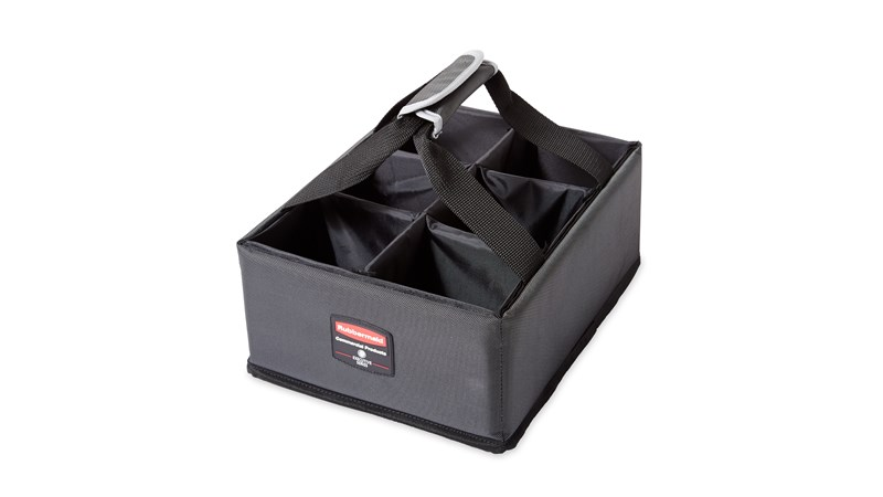 The Rubbermaid Commercial Executive Quick Cart Caddy is great for organizing amenities with its adjustable and removable dividers.