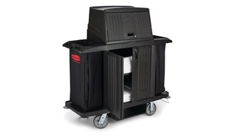 Executive Traditional Full-Size Housekeeping Cart with Hood and Doors, Black