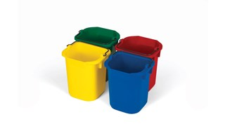 The Rubbermaid Commercial 4-Pack of 5-Quart Disinfecting Pails reduces cross contamination risk and comes in four colors (blue, red, yellow, green).