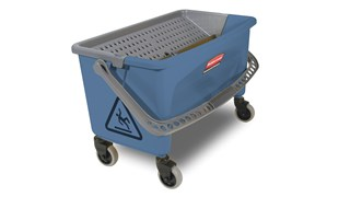 "Microfiber Finish Mop Bucket with Wringer allows for easy, ""no touch"" wringing in the blue color most often associated with finish applications. The smooth nonporous bucket cleans easily, reducing the time spent on stripping traditional mop/bucket wringer combinations to increase operational efficiencies."