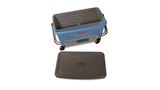 """Microfiber Finish Mop Bucket with Wringer allows for easy, """"no touch"""" wringing in the blue color most often associated with finish applications. The smooth nonporous bucket cleans easily, reducing the time spent on stripping traditional mop/bucket wringer combinations to increase operational efficiencies."""
